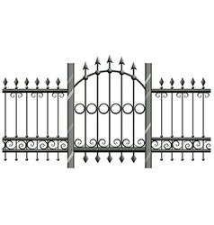 Seamless metal fence with doorway vector