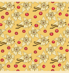 seamless pattern vanilla flower and cranberry vector image