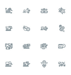 search icons line style set with marketing vector image