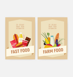 set flyer or poster templates for farm and fast vector image