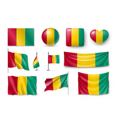 set guinea flags banners banners symbols vector image