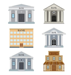 Set of bank houses vector image