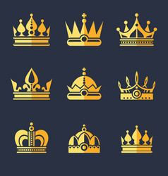 set of rich golden crowns flat vector image