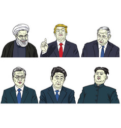 Set of world leaders cartoon caricature vector