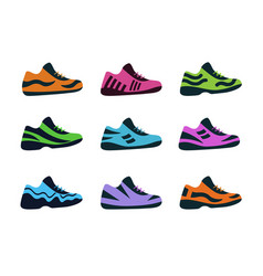 Set sport shoes fitness sneakers shoes vector