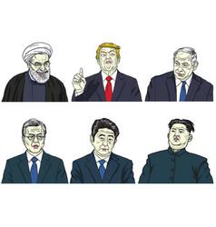 set world leaders cartoon caricature vector image