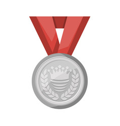silver medal with red ribbon icon vector image