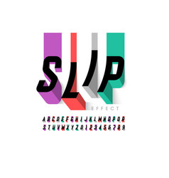 slipping effect font alphabet letters and numbers vector image