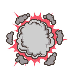 Small red explosion with clouds isolated vector
