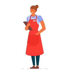 Smiling waitress in apron with clipboard stand on vector
