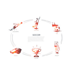 soccer - forward fine goalkeeper whistle vector image