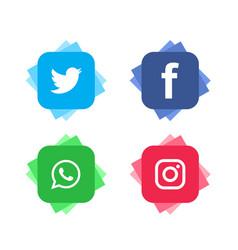 Social media modern icon set vector