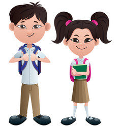 students asian on white vector image