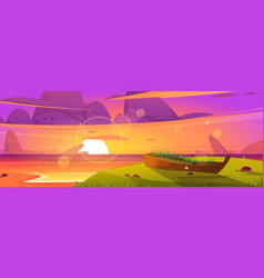 sunset beach and old wooden boat with grass grow vector image