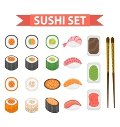 Sushi set icons element for design flat style vector image