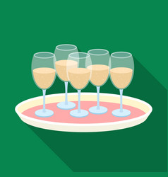 Tray with champagne glasses icon in flat style vector
