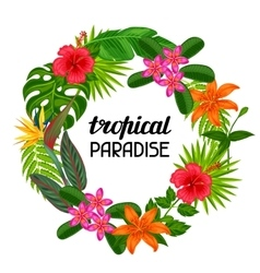 Tropical paradise frame with stylized leaves and vector