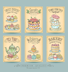 vintage card collection hand-drawn cakes vector image