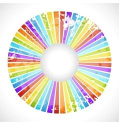 Vintage rainbow round postcard vector image