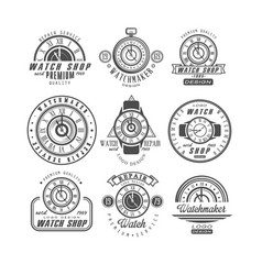 Watch shop and repair service logo set retro vector