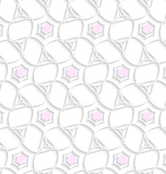White 3d ornament with pink hexagons vector