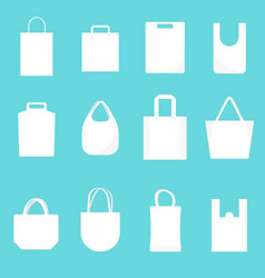 white blank canvas bags template mockup set vector image