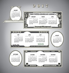 2017 money calendar vector image vector image
