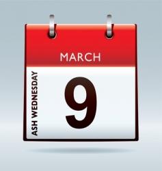 ash Wednesday calendar vector image vector image