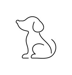 Black dog thin line icon vector