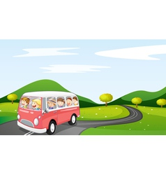 bus and road vector image vector image