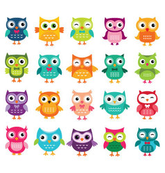 Cute cartoon owls collection vector image