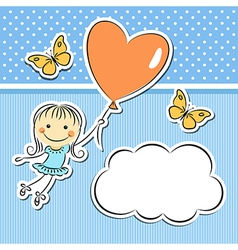 Happy girl with heart balloon vector image vector image