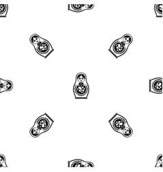matryoshka pattern seamless black vector image