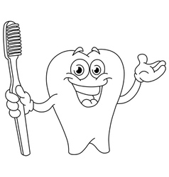 Outlined cartoon tooth with toothbrush vector