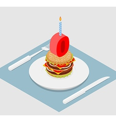 zero holiday burger Zero with andle Burger vector image vector image
