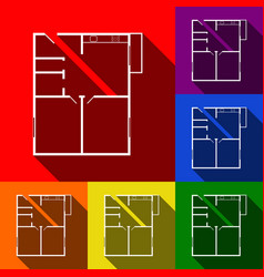 apartment house floor plans set of icons vector image