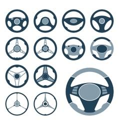 Car Steering Wheel Icons Set vector image
