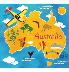 Cartoon map of australia vector
