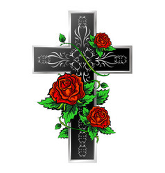 cross with ornament and roses vector image vector image
