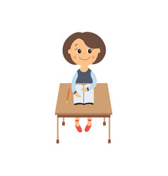 flat schoolgirl sitting at desk isolated vector image vector image