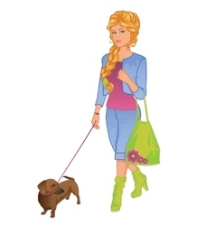 girl walking with her dog vector image vector image
