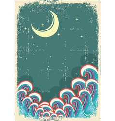 grunge with moon and sea waves vector image vector image