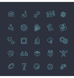 Simple set of games related line icons vector