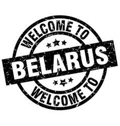 welcome to belarus black stamp vector image vector image