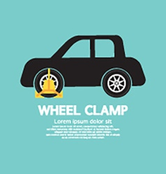 Wheel Clamp On Car Side View vector image