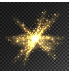 Golden glitter particles burst Shining star vector image