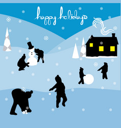 merry christmas happy holidays landscape 2 vector image vector image