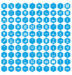 100 disabled healthcare icons set blue vector image vector image