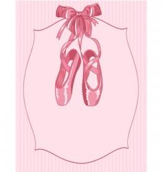 Ballet slippers on stripe background vector