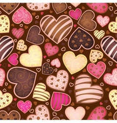 seamless chocolate pattern with sweetmeat heart vector image vector image